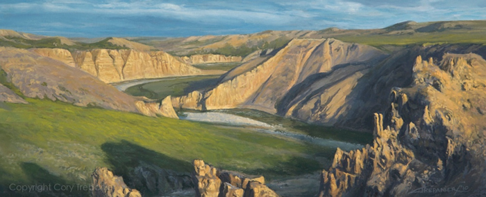 """Where the Canyon Begins, Study, 16"""" x 5"""" Oil on Linen"""