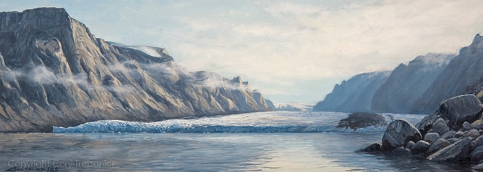 "Great Glacier 16"" x 6"" Oil on Linen"