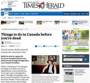 Bucket List in Moose Jaw Herald